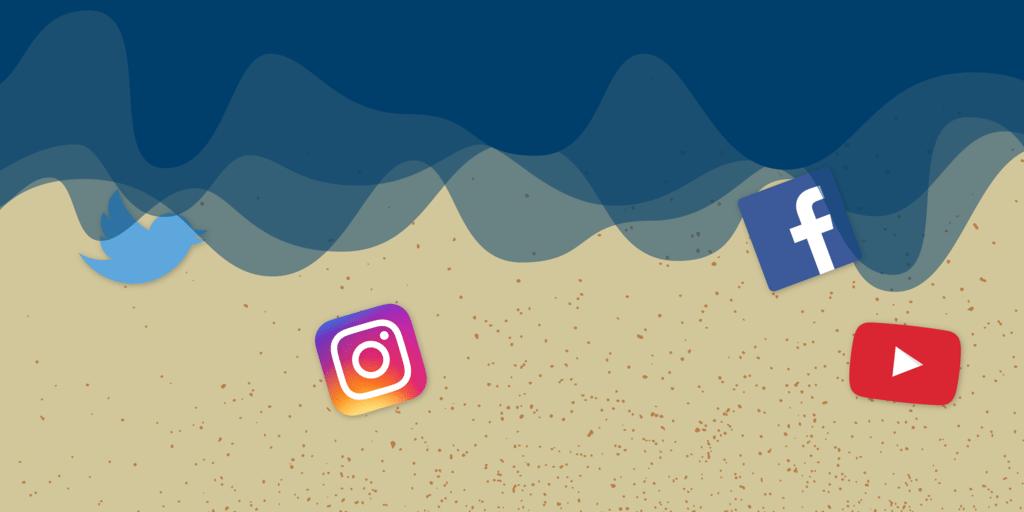 ilustração das redes sociais na praia, entre as ondas do mar