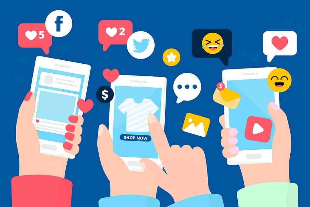 como vender nas redes sociais, vetor com smartphone na mão