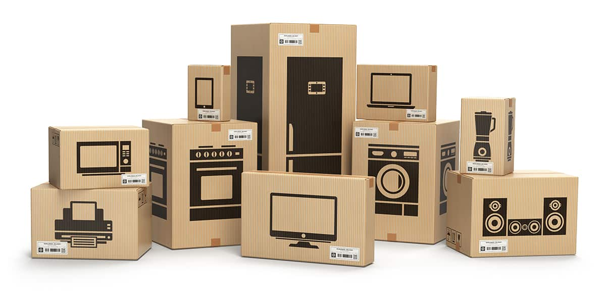 Household kitchen appliances and home electronics in boxes isola
