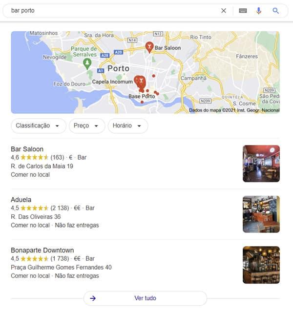 pesquisa no google por bar porto